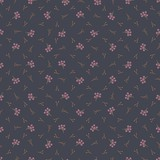 seamless pattern with pink berry and decorative branches - 243986723