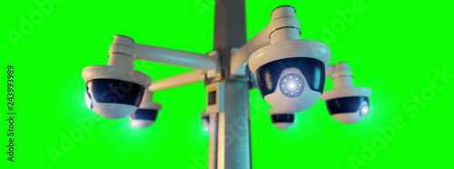 Street security cctv camera isolated on a green screen - 3d rendering - 243993989