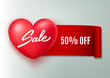 Sale advertisement for Valentine's day, heart banner, vector illustration
