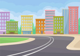 City landscape with buildings, road, green bushes and blue sky on background. Modern cityscape. Flat vector design - 244003704