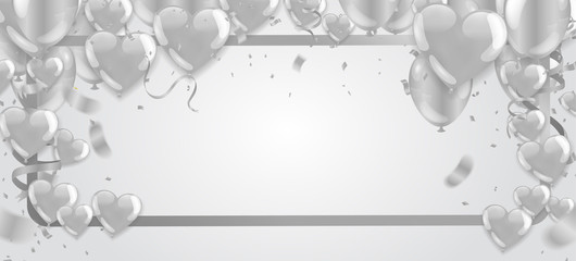 Valentines Background with white Hearts balloons. Greeting Card. Vector illustration Eps 10