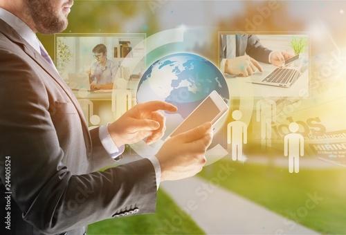 Leinwandbild Motiv News communication media mass office social world