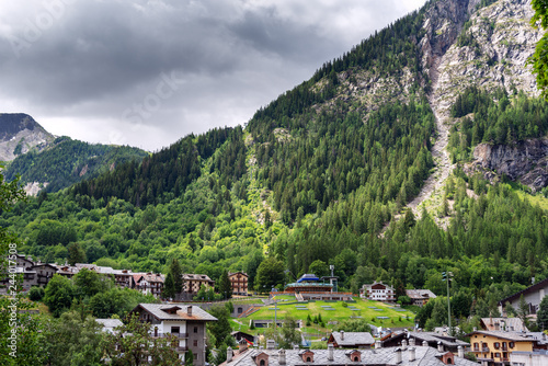 Courmayeur cityscape in Alps, Italy.