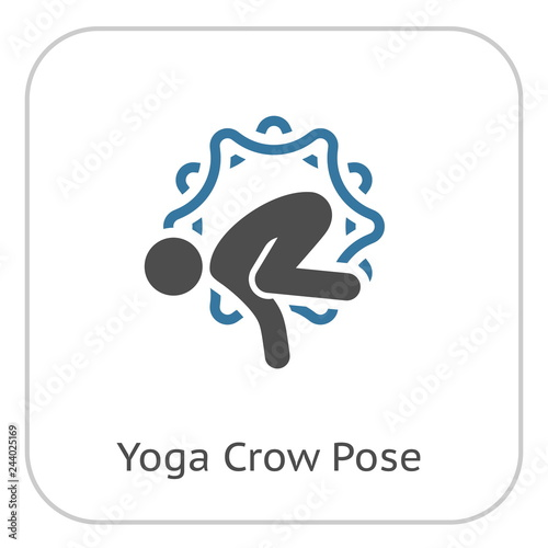 Wall mural Yoga Crow Pose Icon. Flat Design Isolated Illustration.