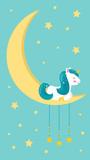 Cute cartoon unicorn is sleeping on the moon. Night sky with stars. Vector illustration for the nursery. - 244029963