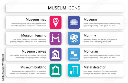 Set of 8 white museum icons such as Map, Fencing, Canvas, Museum building, Museum, Mummy isolated on colorful background © BestVectorStock