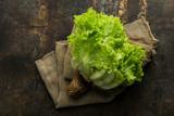 Loose-leaf Lettuce on rustic background - 244044921