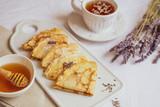 Homemade Pancakes with Honey, Tea, Lavender Flowers, Easy Food Concept Breakfast  - 244052333