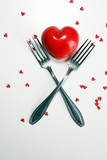 Festive table setting for Valentine's Day with forks and hearts - 244059109