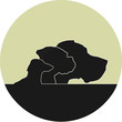 Logo mit Silhouetten von drei Hunden - rund