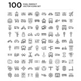100 linear pack of Plane, Bus, Garage, Ship wheel, Helicopter, Train, Road, Passport, Seats, Travel line icons, universal thin stroke icons set