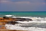 rough sea, porto palo di capo passero, syracuse, sicily, italy