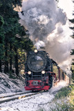 Alte Dampflokomotive im Schnee