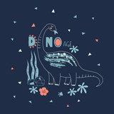 Cute Dino hand drawn summer typographic vector illustration. Perfect for kids t-shirt print, children fashion wear, wall art posters - 244083146