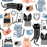 Seamless pattern with cute Kittens in diferent style. Creative childish texture. Great for fabric, textile Vector Illustration - 244086954