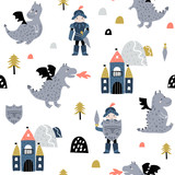Childish seamless pattern with knight, dragon and castle in scandinavian style. Creative vector childish background for fabric, textile - 244089328