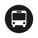 Bus icon flat black round button vector illustration