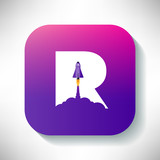 Space Rocket with R Letter Concept  Design - 244109721