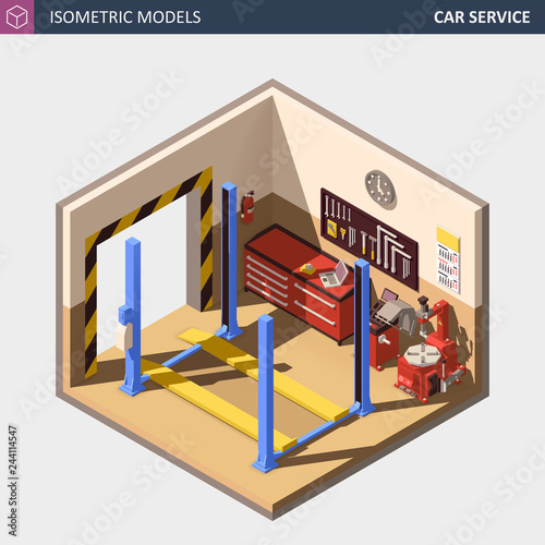 Vector Isometric Auto or Car Service Center Illustration.