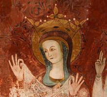 """Постер, картина, фотообои """"Maria incoronata; particolare di affresco nella cripta della Cattedrale di Trani (Puglie)"""""""
