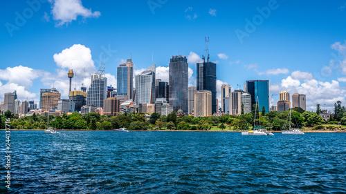 Ocean and Sydney CBD skyline landscape panorama during a summer day in Sydney Australia