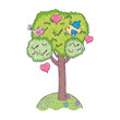 tree plant with birds couple and hearts