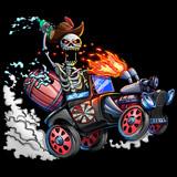 Skeleton and Car. Skull and Truck isolated. Vintage Portrait Artwork. Concept Art. Realistic Illustration. Video Game Digital CG Artwork. Character Design.  - 244148727