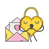 padlock with heart love icon - 244154986