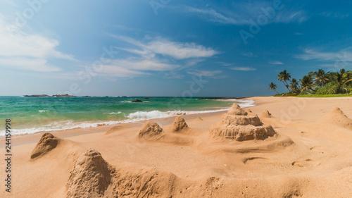 eautiful tropical beach and sandcastle. Indian Ocean - 244159998