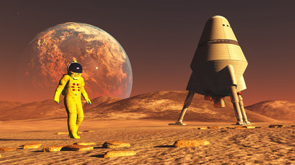 The image of the astronaut on alien planet 3D illustration