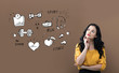 Fitness and diet with young businesswoman on a brown background