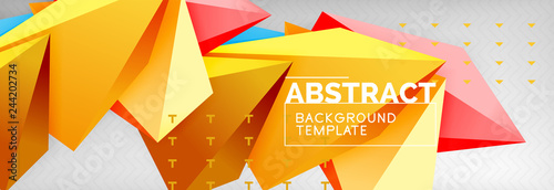 3d polygonal shape geometric background, triangular modern abstract composition - 244202734