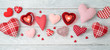 Valentine's day banner background with heart shapes and candles.