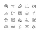 Simple Set of Hotel Related Vector Line Icons. Contains such Icons as One Large and Two Separate Beds, Air Conditioning, Wi-Fi and more. Editable Stroke. 48x48 Pixel Perfect. - 244211523