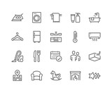 Simple Set of Hotel Related Vector Line Icons. Contains such Icons as Available Date Calendar, Toiletries, Room Size and more. Editable Stroke. 48x48 Pixel Perfect.