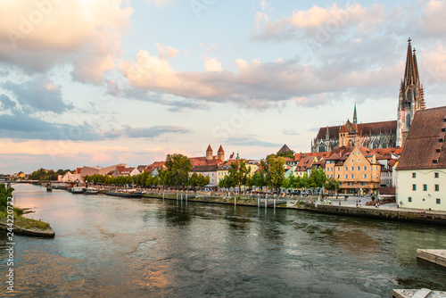 Sticker Landscape with view of Old Town of Regensburg city. Medieval architecture with Regensburg Cathedral in the background. Popular tourist places in Regensburg, Germany