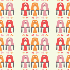 Vector hen coop seamless repeat pattern background. © Anna Kennedy