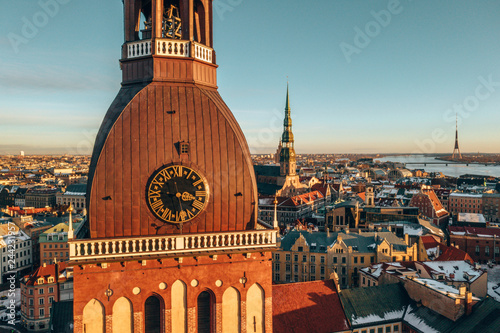 Fridge magnet Riga Dome cathedral aerial view during sunset time in Riga, Latvia.