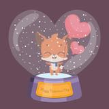 Cute Valentine's Day snowglobe with fox - 244246301
