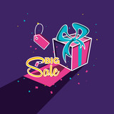 big sale label with gift and tag - 244254144