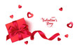 Happy Valentine's day. Romantic design template with red gift box and heart confetti isolated on white background with greeting text. Vector illustration