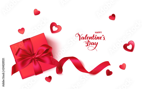 Happy Valentine's day. Romantic design template with red gift box and heart confetti isolated on white background with greeting text. Vector illustration © Gizele