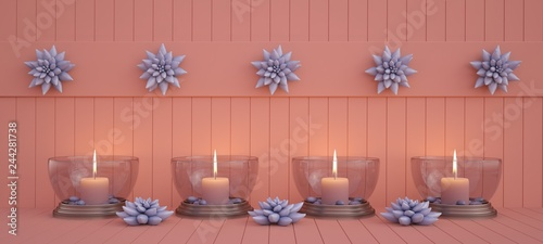 Panoramic background with candles in glass candlesticks and succulents on wooden surface. Living Coral background. Color of the year 2019 concept. 3D illustration - 244281738