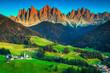 Leinwanddruck Bild - Beautiful spring landscape with Santa Maddalena village, Dolomites, Italy, Europe