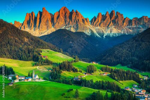 Leinwanddruck Bild Beautiful spring landscape with Santa Maddalena village, Dolomites, Italy, Europe
