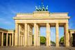 Leinwanddruck Bild - The Brandenburg Gate in Berlin at amazing sunrise, Germany