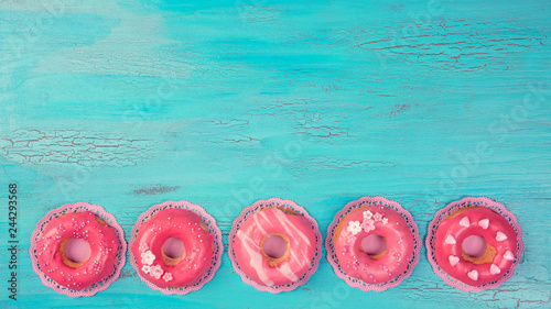Pink colored donuts