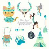 orange teal native american cute illustrations