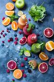 Colorful detox smoothie in bottles, summer diet fresh drink for breakfast or snack. - 244298789