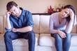 Leinwandbild Motiv Sad couple with problems at home feeling bad